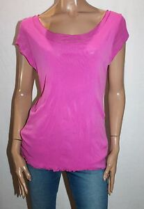 FLOWER-Designer-Pink-Mesh-Lace-Cap-Sleeve-Blouse-Top-Size-18-BNWT-TF75
