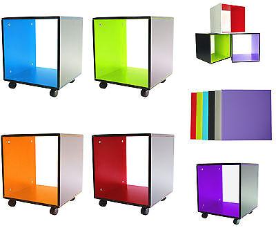 TV Bank Tisch Couchtisch Beistelltisch Nachttisch MDF Cube 41x40x40cm mit Rollen