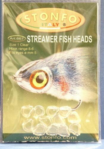 667 Augen Ø 5mm 12 pcs Haken #8-#6 Stonfo STREAMER FISH HEADS Size 1 CLEAR Art