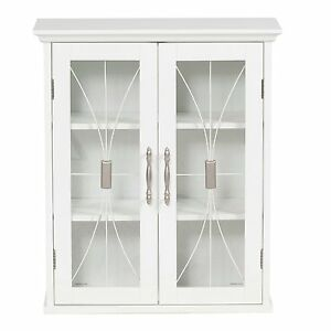 Details About Sansai Modern 2 Glass Doors Wall Cabinet Bathroom Storage  White Or Dark Espresso