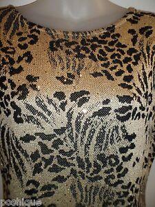 ST-JOHN-BY-MARIE-GRAY-6-Vintage-Dress-Metallic-Gold-Sequin-Speck-Leopard-Black