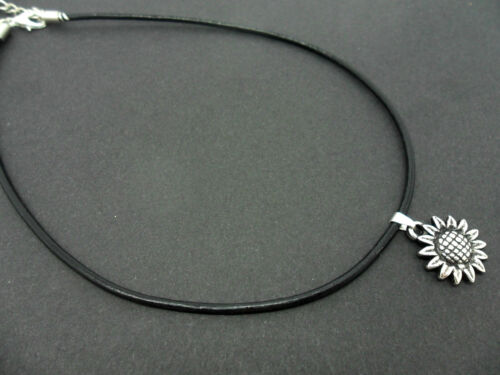 """NEW. A LADIES BLACK LEATHER CORD 13-14/"""" CHOKER SUNFLOWER CHARM NECKLACE"""