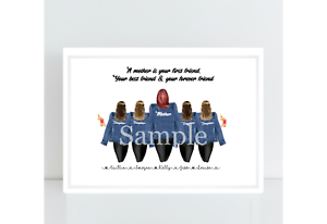 Personalised Mother and Daughters Family Print Birthday Gift A4