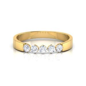 0-30-Cts-F-VS1-Round-Brilliant-Cut-Diamonds-Five-Stone-Ring-In-Hallmark-18K-Gold
