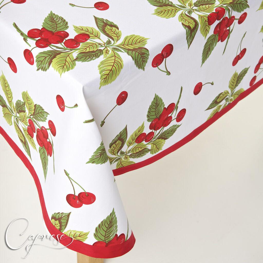 Nappe 180 x 360 CM CERISES motif d'Italie 100% coton nouveau et süβ