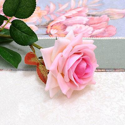 Velvet Rose Fake Silk Flower Leaf Artificial Home Wedding Decor Bridal Bouquet