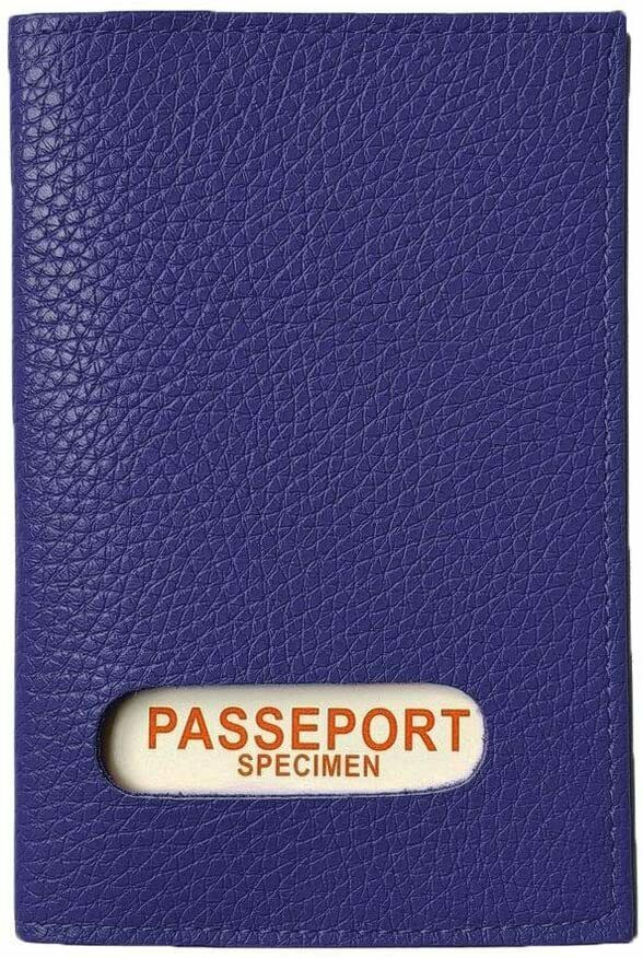 Case protects passport blue genuine leather womens mens