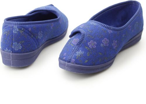 Comfylux DIANA Ladies Womens Wide Fit Touch Fasten Comfort Floral Full Slippers