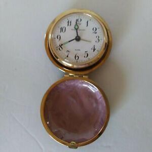 Vintage-Round-Travel-Alarm-Clock-Phinney-Walker-Folding-Case-Japan-1960-039-s