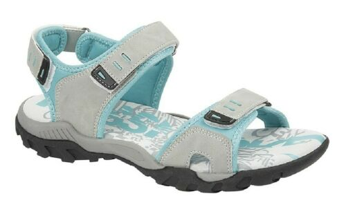 Ladies PDQ L498 Touch Fasten Summer Casual Comfort Holiday Sandals Light Grey//Mi