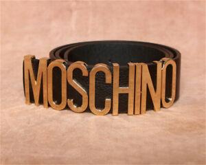 Moschino Schnalle Gürtel Damen Fashion Legierung Glatt Waistband Ledergürtel