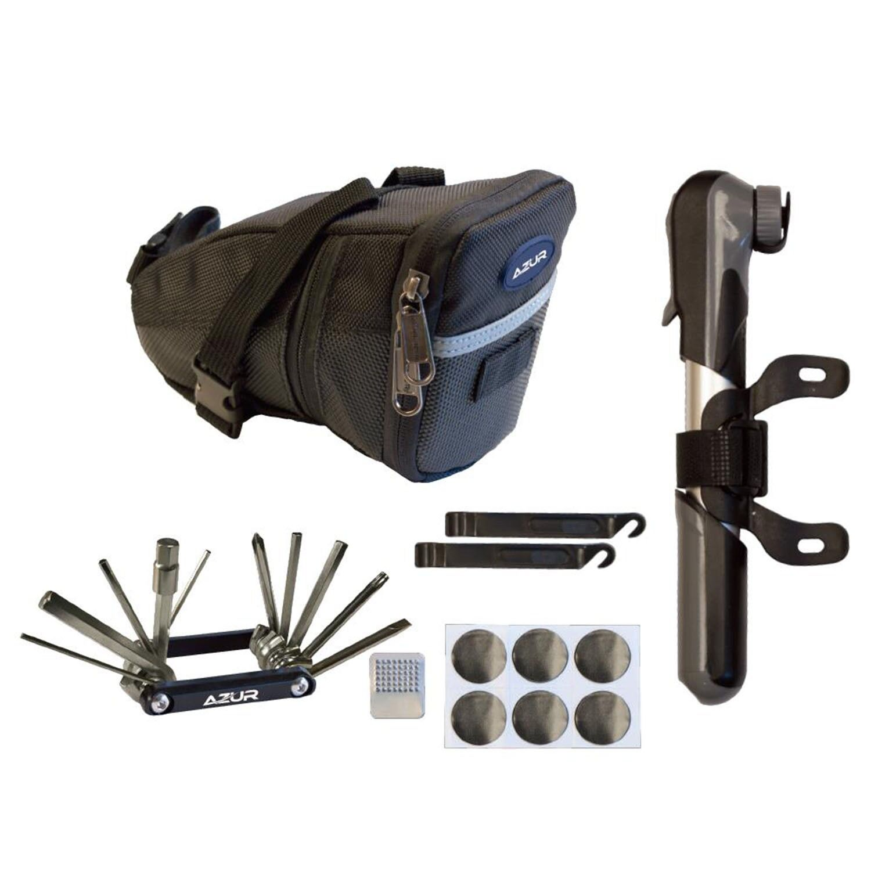 Azur Essential K1 Bike Saddle Bag Pump Multi Tool Combination Set