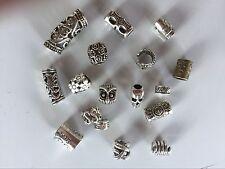 17 Tibetan Silver And 10 Wood Dreadlock Dread Hair Braid Beads Clip 4-7mm Hole