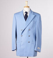 $2125 Belvest Sky Blue Twill Cotton Blazer Sport Coat 42 R Metal Buttons on sale