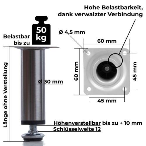Möbelfüße Sofafuß 4er SET Möbelfuß Sockelfüße Metall HÖHENVERSTELLBAR Stützfuß