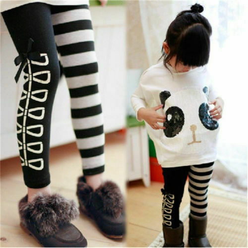 Toddler Infant Girls Outfits Panda Coat Striped Pants Kids Clothes Set 2pcs