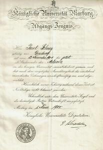 Autogramm Eugen Korschelt (1858-1946) Zoologe Universität Marburg Zeugnis 1905