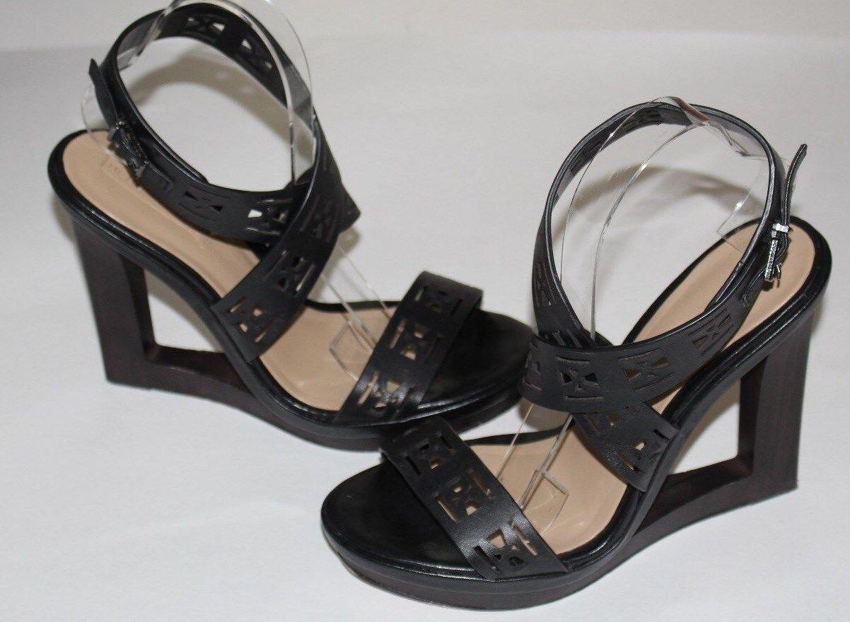 BCBGMAXAZRIA 9 Black Cutout Leather Ankle Strap Sandal Wood Heel Platform  295