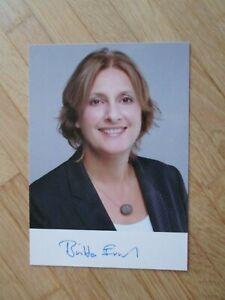 Brandenburg Ministerin SPD Britta Ernst - hands. Autogramm! (Gattin Olaf Scholz)