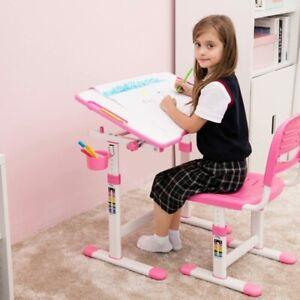 Dettagli su Scrivania Con Sedia Da Studio Per Bambini Regolabile In Altezza Inclinabile Rosa