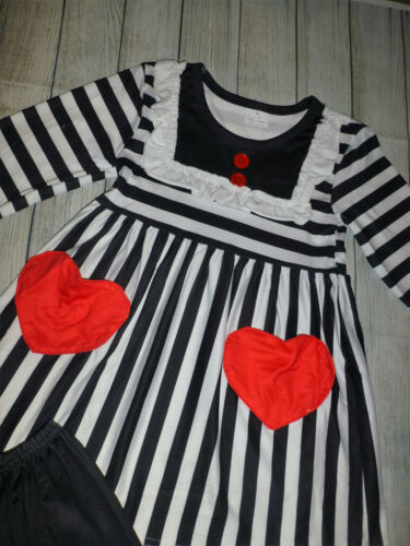 NEW Boutique Valentine/'s Day Tunic Dress Ruffle Leggings Girls Outfit Set
