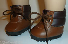 "Brown Hiking Lace Up Boots Fits 18"" American Girl  Boy Doll Clothes"