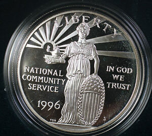1996-U-S-Mint-Community-Service-Proof-Silver-Dollar-Commemorative-Coin