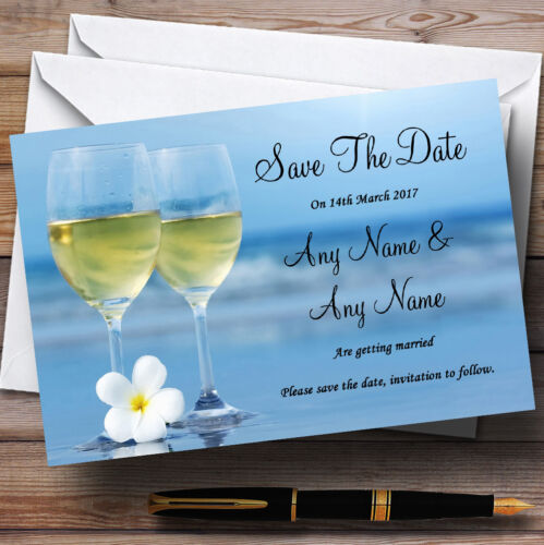 Wine On The Beach Personalised Wedding Save The Date Cards