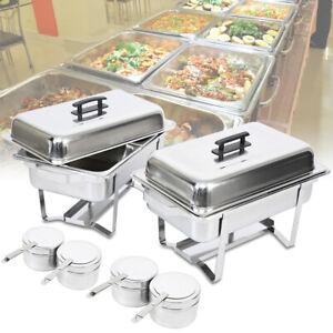 2 × Chafing Dish Speisenwärmer Warmhaltebehälter Rechaud Wärmebehälter Ridgeyard