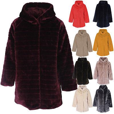 Ladies Italian Stripe-Cut Faux Fur Hooded Coat Women Winter Coatigan Coat Jacket