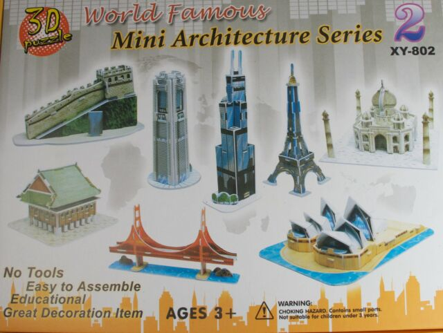 3D MINI ARCHITECTURE KIT 8x BUILDINGS SYDNEY OPERA HOUSE GOLDEN GATE BRDGE ETC