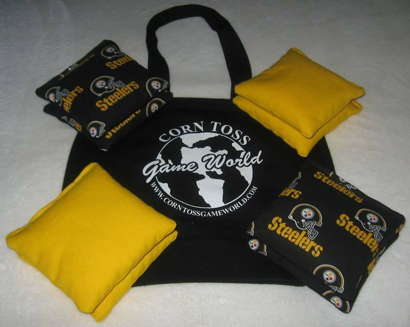 8 WASHABLE Resin Pittsburgh Steelers Cornhole Toss Bags+Tote All Weather Nice