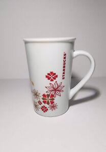 Starbucks Holiday Floral Poinsettia Snowflake Red 12oz Coffee Cup Tall Mug
