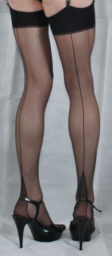 Cuban Small Size Black French//Point Heel Seamed 15Denier Stockings High Quality