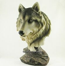 Wolf Bust Statue | Noble Wolf Head Figurine | Hand Painted Ornament | NEW IN