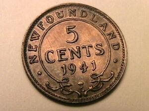 1941-C-Canada-Newfoundland-5-Cent-Ch-AU-Lustrous-Orig-WWII-Silver-Half-Dime-Coin