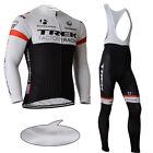 Men Cycling Fleece Jersey Shirt Bib Pants Kits Bike Riding Thermal Winter Oufits