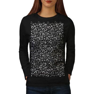 Flight Tracker Wellcoda Musica Nota Fashion Da Donna Manica Lunga T-shirt, Design Casual Audio-