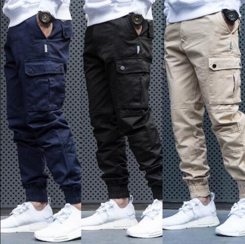 Mens Skinny Pants Cargo Jogger Overalls Harem Trouser Tapered Casual Cotton V685