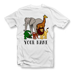 a350e98c51d06 Details about PERSONALISED KIDS ANIMALS T-SHIRT | Custom Childrens Animal T  Shirt | Your Name