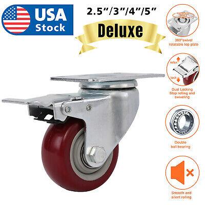 "US 3/"" 4/"" 5/"" Caster Wheels Swivel Plate Total Lock Brake On Red Polyurethane"