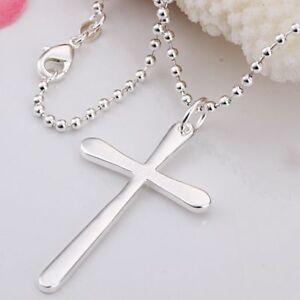 ASAMO-Damen-Herren-Halskette-Kreuz-Anhaenger-Sterling-Silber-plattiert-Kreuzkette