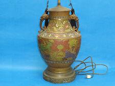 MASSIVE ANTIQUE CHINESE CHAMPLEVE BRONZE ENAMEL VASE LAMP w/ PHOENIX HANDLES
