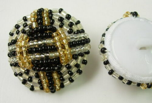 BT14 Elegant Dome Beaded Button Black Silver Gold