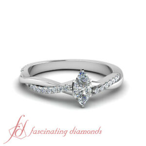 655758967 1 Ctw Marquise Cut And Round Diamond Infinity Twist Engagement Ring ...