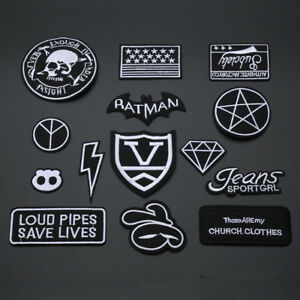 Black-Badges-Embroidered-Iron-on-Patch-Cool-Punk-Rock-DIY-Logo-Clothes-Hat-Badge