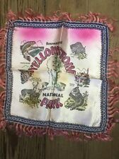 VINTAGE YELLOWSTONE NATIONAL PARK WYOMING SOUVENIR PILLOW COVER 1950's