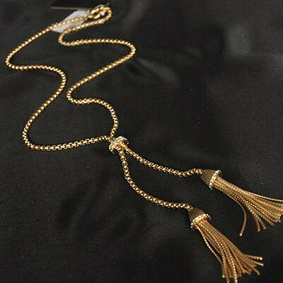 NEW Exquisite Rhinestone Gold Plated Tassel Pendant Long Chain Sweater Necklace