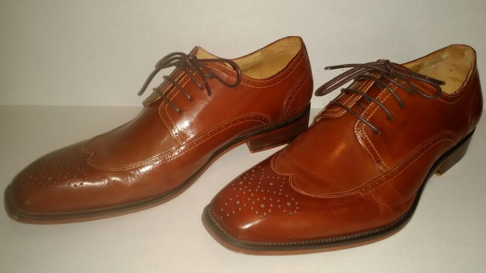 Steven Land Classic Leather Oxfords Mens 9 1 2 Lace Up Dress schuhe Hand-Made