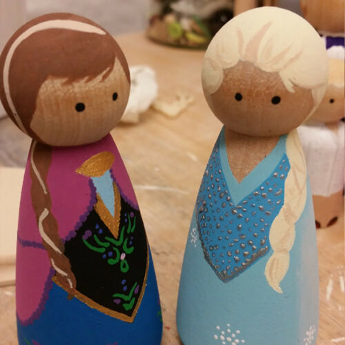 Por ejemplo /_ 10PCS Liso De madera personas Peg Muñecas Boda Cake Toppers Hágalo usted mismo Craft Juguetes STRI